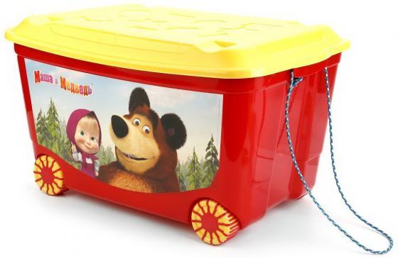 ЯЩИК ДЛЯ ИГРУШЕК НА КОЛЕСАХ (580*390*335ММ) С АППЛИКАЦИЕЙ МАША И МЕДВЕДЬ, ЦВЕТ КРАСНЫЙ в кор.4шт бытпласт ящик для игрушек на колесах 580 390 335 бытпласт зеленый