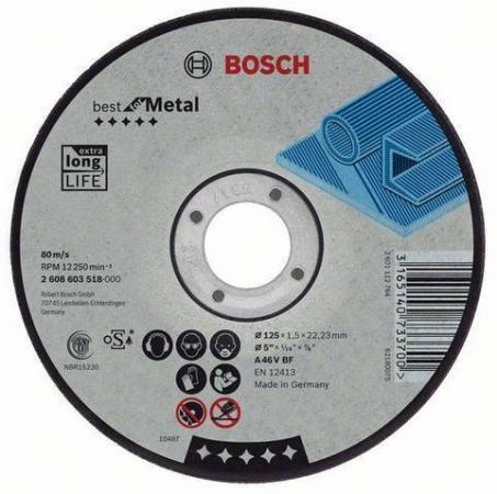 цены Круг отрезной BOSCH Best for Metal 125x1,5x22 (2.608.603.518) по металлу