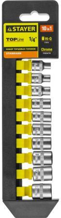 цена на Набор головок STAYER 27758-H10 standard: 1/4 на пластиковом рельсе 4-13мм 10 предметов