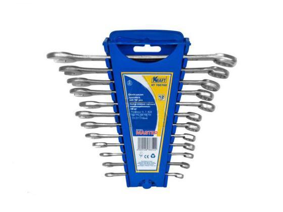 Набор комбинированных ключей KRAFT КТ 700762 Master (6 - 19 мм) 12 шт. хром-ванадиевая сталь (Cr-V) съёмник шаровых опор шарнирных соединений с рычагом kraft cr v kt 701025