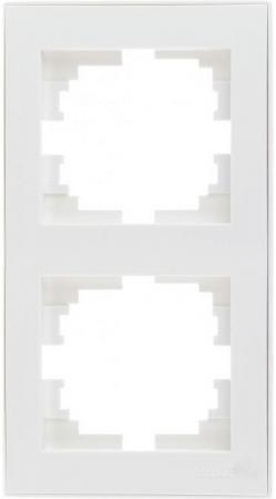 Рамка LEZARD 703-0202-152 серия Рейн 2-ая вертикальная белый с белой вставкой