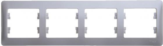 Рамка SCHNEIDER ELECTRIC GLOSSA 1063726 4-постовая РАМКА. горизонтальная. АЛЮМИНИЙ