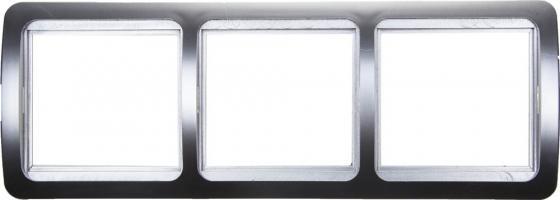 Рамка СВЕТОЗАР SV-54148-SM гамма накладная горизонтальная светло-серый металлик 3 гнезда звонок электрический с кнопкой светозар аккорд 58036