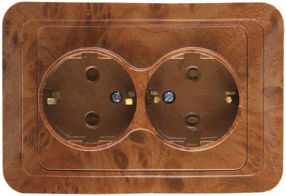 Розетка СВЕТОЗАР SV-54107-N гамма с заземлением двойная орех 16А/~250в
