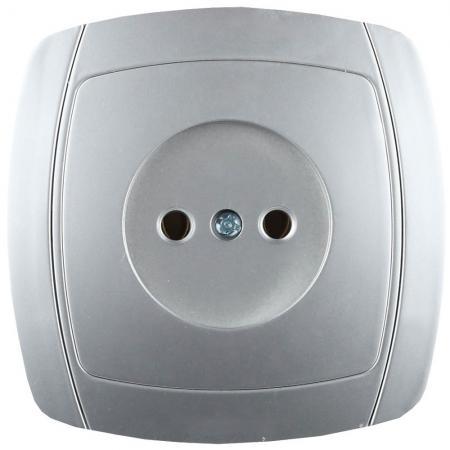Розетка СВЕТОЗАР SV-54200-SM акцент одинарная в сборе б/з 16А 250В серебристый металлик звонок электрический с кнопкой светозар аккорд 58036