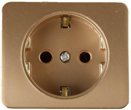 Розетка СВЕТОЗАР SV-54105-GM гамма с/з 16А 250В одинарная без вставки и рамки золотой металлик