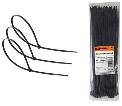 Хомут TDM SQ0515-0218 4.8х300мм нейлон черный 100шт. крепление для трубы клипса tdm electric 25мм 100шт серый
