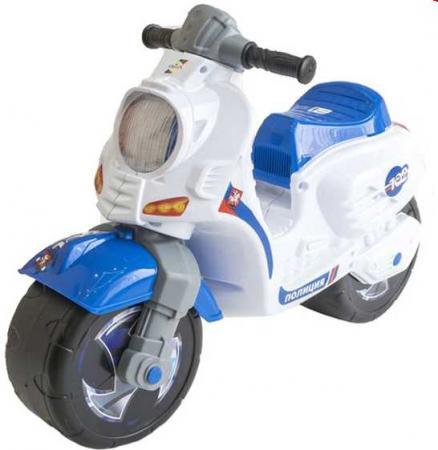 все цены на Каталка-мотоцикл RT СКУТЕР Полиция пластик от 18 месяцев на колесах бело-синий онлайн