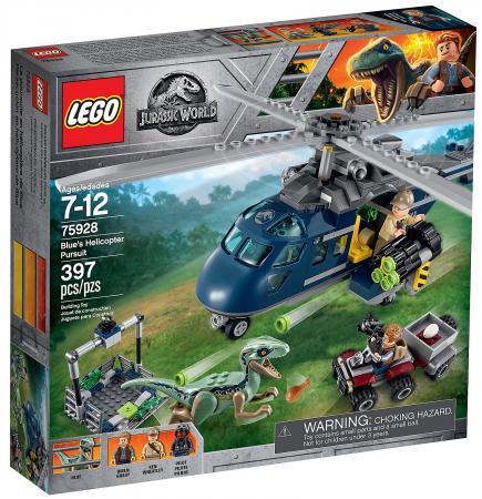 Конструктор LEGO Jurassic World: Погоня за Блю на вертолёте 397 элементов