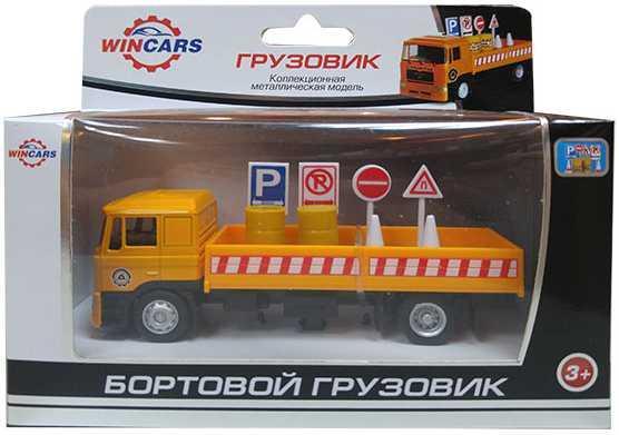 Грузовик Wincars Бортовой грузовик с дорожными знаками желтый U1401B-3