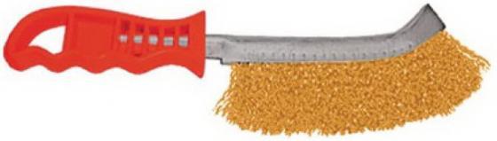 Кордщетка ручная FIT 38408 с изогнутой пластиковой ручкой латунированная тип в шпатель fit 07554 с изогнутой пластиковой ручкой антикоррозионное покрытие 200мм