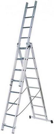 Фото - Лестница FIT 65436 трехсекционная алюминиевая 3х11 ступеней h=312/559/806см вес 15.77кг лестница fit 65436 трехсекционная алюминиевая 3х11 ступеней h 312 559 806см вес 15 77кг