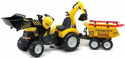 Каталка-трактор Falk Трактор экскаватор пластик от 3 лет на колесах желтый FAL 1000WH каталка квадроцикл falk принцесса лиловый от 3 лет пластик fal608