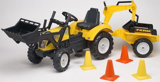 Каталка-трактор Falk Трактор-экскаватор пластик от 3 лет на колесах желтый FAL 2085XC каталка машинка peg perego jd gator hpx пластик от 3 лет на колесах зелено желтый