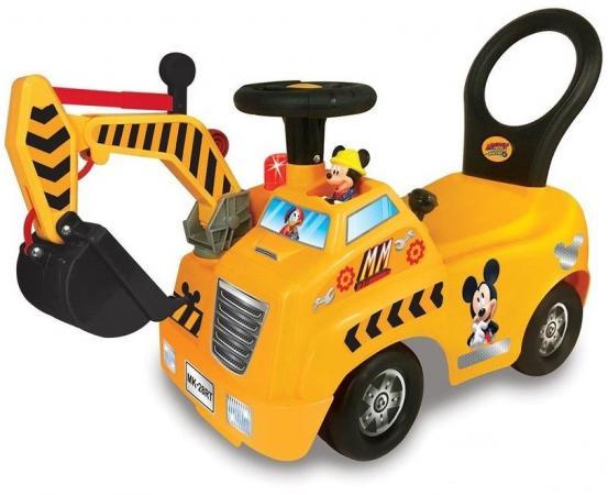 Каталка-пушкар Kiddieland Кран Микки Мауса пластик от 1 года на колесах желтый KID 054759veg каталка на палочке s s toys вертолет желтый от 1 года пластик