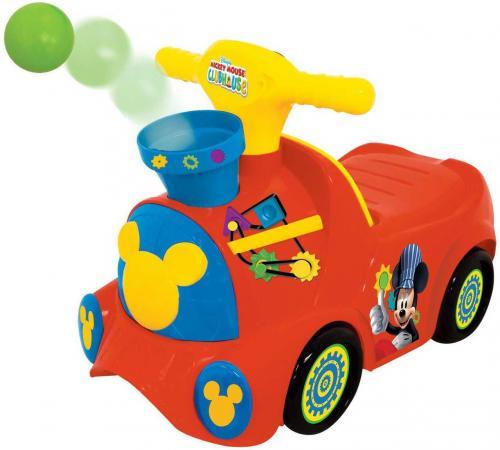 цены Каталка-пушкар Kiddieland Паровозик Микки Маус пластик от 1 года музыкальная красный KID 052670veg