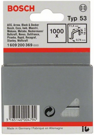 Скобы для степлера BOSCH 1609200369 1000шт. 18мм тип53