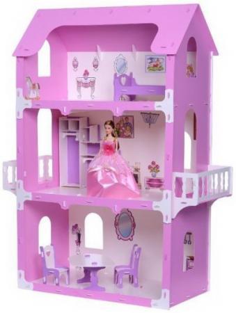 Домик для кукол Коттедж Екатерина бело-розовый с мебелью kidkraft открытый коттедж с мебелью