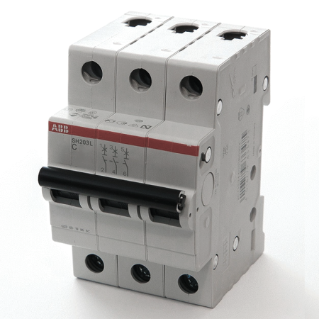 Автомат ABB SH203L C25 3-полюсной автомат 3p 63а тип с 6 ka abb s203