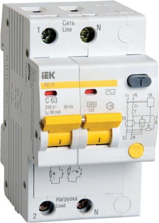 Выключатель автоматический дифференциального тока ИЭК 2п 25А/30мА АД-12 MAD10-2-025-C-030