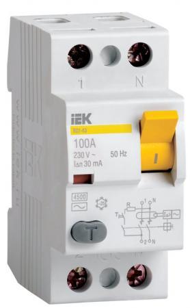 Выключатель дифференциального тока ИЭК 2п 16А/30 мА УЗО MDV10-2-016-030 цена