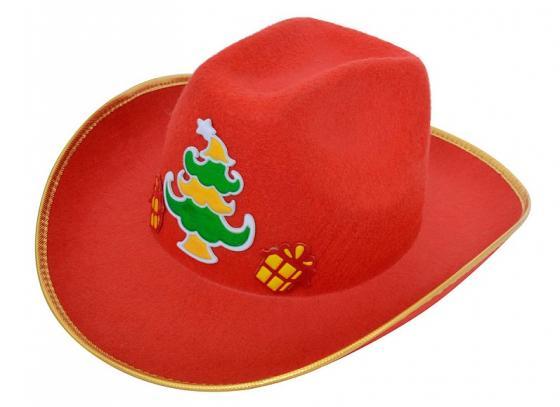 Карнавальная шляпа КОВБОЙ, 39*33 см, красная, 1 шт в пакете