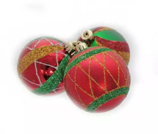 Елочные украшения Winter Wings Набор шаров блестящих 7 см 3 шт пластик цена и фото