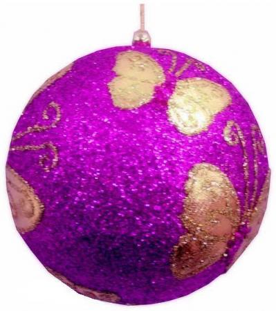 Украшение елочное ШАР БАБОЧКА РОЗОВЫЙ,10 см, полимерный материал елочное украшение шар цвет розовый 10 см