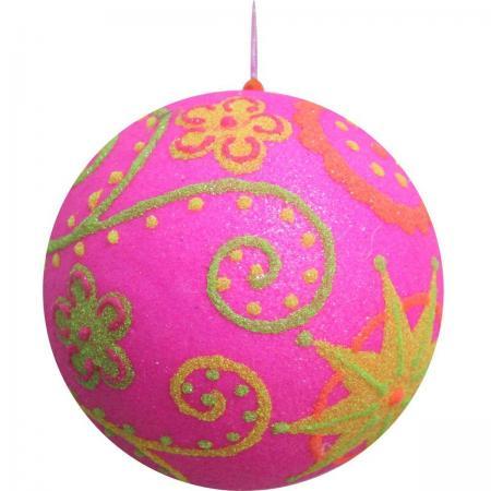 Украшение елочное ШАР РОЗОВЫЙ РЕТРО, 10 см,полимерный материал елочное украшение шар цвет розовый 10 см