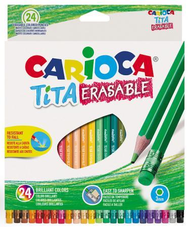 Набор цветных карандашей CARIOCA Tita Erasable 24 шт набор цветных карандашей universal carioca 24 шт 17 5 см односторонние 40381 точилка 40381