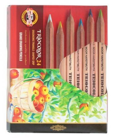 Набор цветных карандашей Koh-i-Noor Triocolor 24 шт 175 мм набор угольных карандашей koh i noor gioconda 3 шт