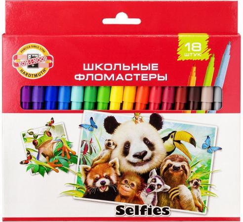 Набор фломастеров школьных SELFIES, 18 цветов, картонная коробка цена