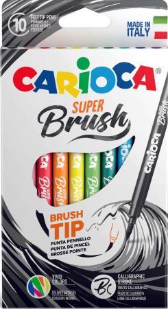Набор фломастеров CARIOCA SUPER BRUSH, 10 цветов, в картонной коробке с европодвесом carioca набор смываемых восковых карандашей baby 8 цветов
