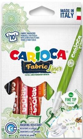 Набор фломастеров по текстилю CARIOCA FABRIC LINER, 10 цв., в картонной коробке с европодвесом