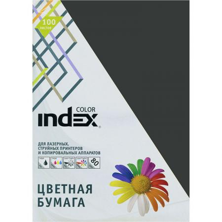 Бумага цветная Index Color, 80гр, А4, черный (99), 100л бумага цветная kaskad 80гр а4 светло желтый 55 500л