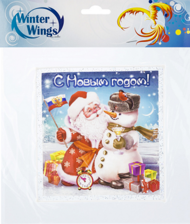 Наклейка Winter Wings Дед Мороз и снеговик 15х15 см наклейка