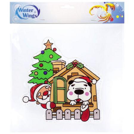 Наклейка Winter Wings Дед Мороз с собачкой 30х33 см наклейка