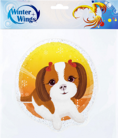 Наклейка Winter Wings Собака с бантиками 15х15 см наклейка