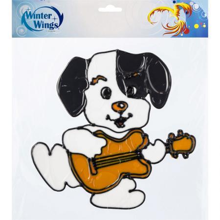 Наклейка Winter Wings Собака с гитарой 25х25 см наклейка