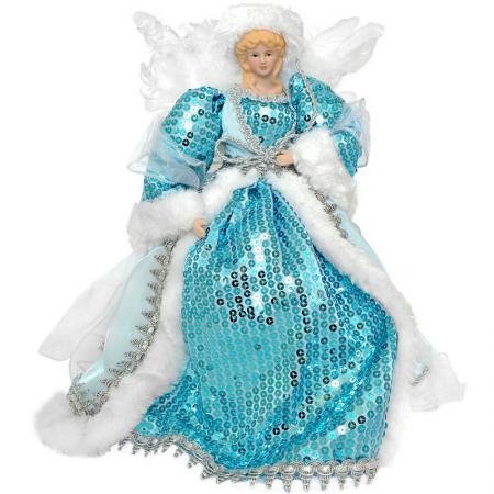 Украшение декоративное АНГЕЛ в голубом платье, 31 см, пластик, полиэстр, 1 шт украшение winter wings сидящий ангел 21 см 1 шт белый полиэстер n180204