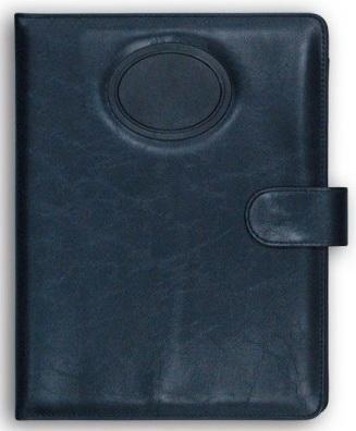 Папка на кнопке, с поворотным калькулятором и блокнотом, 320х240мм, кожзам, темно-синяя папка на кнопке comix цвет фиолетовый