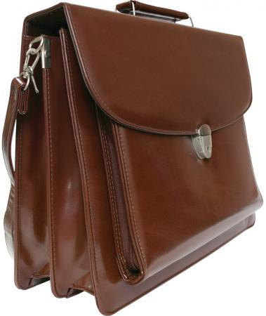 Портфель на замке, с ремешком, 2 отд., накл.карман на молнии, 420х300мм, кожзам, коричневый портфель на замке с ремешком 2 отд накл карман на молнии 420х300мм кожзам коричневый