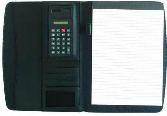 Папка с блокнотом и калькулятором,микрофибра,черная,разм.320 х 240 мм