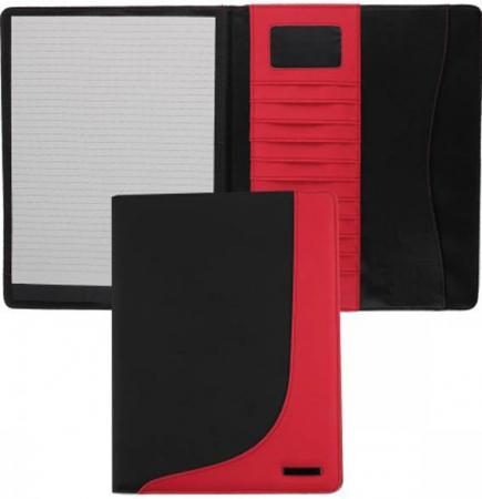 лучшая цена Папка с блокнотом,PVC,комбинированная,черно-красная,разм.32 х 24 см