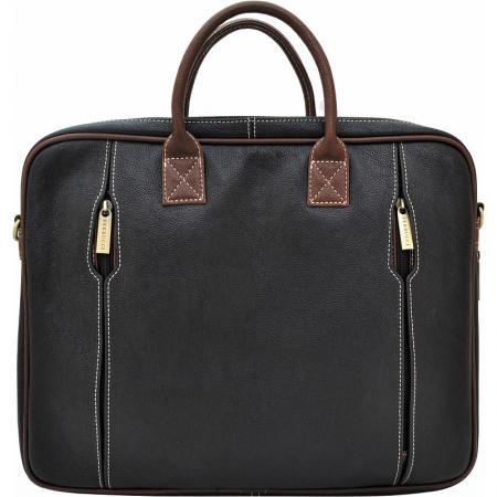 Портфель-сумка, кожа, комбинированный, черный с тёмно-коричневой отделкой, разм. 38х11х30 см цена и фото