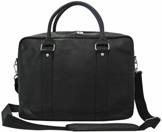 Портфель-сумка, кожа, черная, разм. 39х10х29 см цена и фото