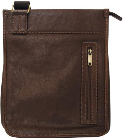 Портфель, кожа, темно-коричневый, разм. 40х10х30 см цена и фото