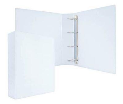 Папка-файл на 4 кольцах, белая, PVC, 75 мм, диаметр 50мм