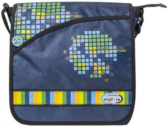 Купить Сумка DISCOVERY, повседневная, на плечевом ремне, разм. 32 x 32 x 6 см, синяя, Action!, Сумки для школьников