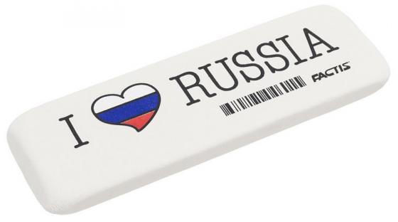 все цены на Ластик FACTIS I LOVE RUSSIA, мягкий, из натурального каучука, размер 140х44.5х9 мм онлайн